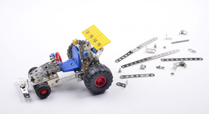 Toy car assembled with metal pieces